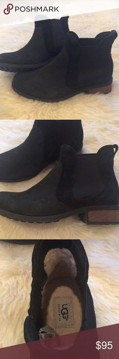 UGG Shoe Boots Black Leather & suede shoe boots. GUC worn very few times UGG Shoes Ankle Boots & Booties