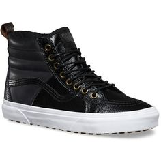 Vans Pebble Leather SK8-Hi 46 MTE ($90) ❤ liked on Polyvore featuring shoes, sneakers, vans high tops, grip shoes, traction shoes, vans sneakers and vans trainers