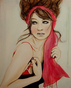 """""""Cherry Blossom Girl"""" by Leigh Viner #fashion #acrylic #watercolor"""