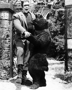 The Munsters - TV sitcom - Fred Gwynne as Herman Munster, Earl of Shroudshire, with Olga the Dancing Bear Munsters Tv Show, The Munsters, Munsters Grandpa, Munsters House, La Familia Munster, Herman Munster, Yvonne De Carlo, Classic Monsters, Vintage Horror