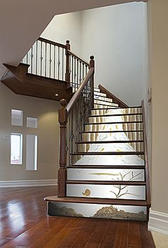 Stream Wallpaper Mural On Stair Risers Painted Staircases Stairs Floors Cottage