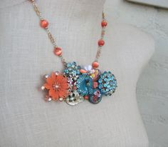 Turquoise Orange Vintage Brooch Peacock Micro by FiorellaJewelry, $76.00