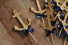 Anchor Cupcake Toppers - ships in 1-3 business days - Nautical Baby Shower Decorations.   12CT.