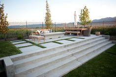 cool design, but maybe too open? Concrete Patio, Concrete Stairs, Concrete Fire Pit Modern Landscaping Ag-Trac Enterprises