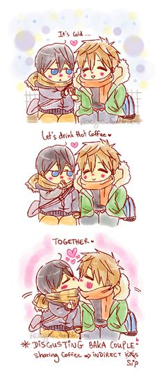 Based on the official released winter art where Haru accepts a warm drink from Makoto ... Drawn by racyue ... Free! - Iwatobi Swim Club, haruka nanase, haru nanase, haru, free!, iwatobi, makoto tachibana, makoto, tachibana, nanase