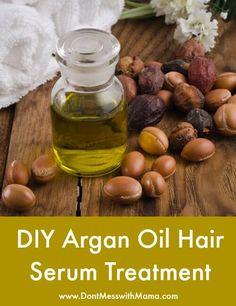 DIY Argan Oil Hair Serum Treatment - I love this argan hair serum to keep my hair shiny and healthy - DontMesswithMama.com