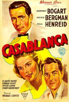 See the Classic Movie Casablanca starring Humphrey Bogart and Ingrid Bergman at the Historic Ritz Theatre April 2018 near the Simmons-Bond Inn Posters Vintage, Old Movie Posters, Classic Movie Posters, Movie Poster Art, Classic Movies, Vintage Movies, Iconic Movies, Great Movies, Humphrey Bogart
