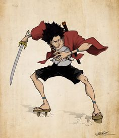 Mugen, Samurai Champloo fanart, 3 zeta on ArtStation at https://www.artstation.com/artwork/kKq6A