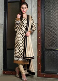 Stunning #Tussar #Silk #Suit and Satin Jute Dupatta 6425B | Buy