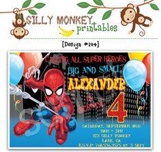 Spiderman inspired birthday invitations