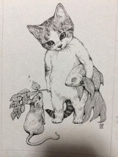 Illustration By Yuko Higuchi I Love Cats, Crazy Cats, Cute Cats, Art Et Illustration, Cat Illustrations, Cat Drawing, Drawing Ideas, Cat Art, Cats And Kittens