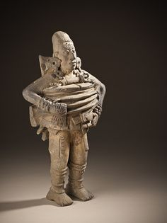 Guatemala, Petén region, Maya  Ballplayer Figure, 550-850 Ceramic, Ceramic, 7 3/4 x 4 1/2 x 3 in. (19.69 x 11.43 x 7.62 cm)  Purchased with funds provided by Camilla Chandler Frost and Lillian Apodaca Weiner (M.2007.187)