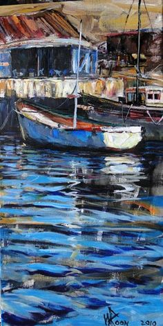 Up & Coming South African Artist: Wilko Roon. Love the colour and light here. Boat Art, South African Artists, International Artist, Local Artists, Art Techniques, Shades Of Blue, Impressionism, Modern Art, Fine Art