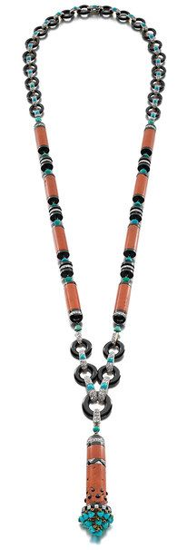 Art Deco Egyptian-Revival coral, black onyx, turquoise and diamond sautoir by Cartier, Paris, 1922. Courtesy of Siegelson, New York.