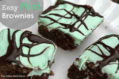 Two Yellow Birds Decor: Easy Mint Brownies