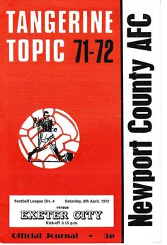 Newport Co 0 Exeter City 0 in April 1972 at Somerton Park. The programme cover #Div4