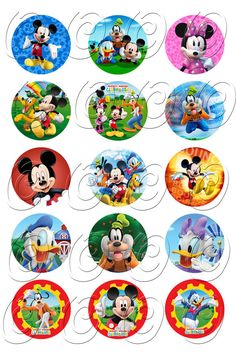 15 Mickey Minnie Mouse Clubhouse Birthday Cupcake Cake Cookie Edible Uncut Topper Image Decoration Decal Wafer Sheet 0036 on Etsy, $4.99