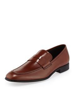 Rocco Leather Penny Loafer, Brown by Salvatore Ferragamo at Neiman Marcus.