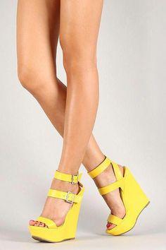 80c21bce5a63 Platform high heels · Breckelle Buckle Ankle Strap Open Toe Platform Wedge   Platformhighheels  K KWedding