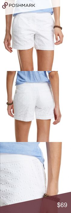 Vineyard Vines Eyelet Classic Shorts BRAND NEW - Worn only a couple of times with ❤️ Pair with anything! The versatile summer staple, white cotton women's shorts, moves up on the cuteness scale with eyelet detail. * 100% cotton  * Textured cotton combo waistband  * Piecing at side seams, piping, and back pocket welts  * Hook and bar closure and zipper fly  * Slash front pockets  * Back welt pockets  * Embroidered whale on back right pocket welt  * Signature branded interior button…