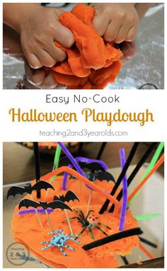 EASY NO-COOK HALLOWEEN PLAYDOUGH Looking for an easy Halloween activity for your preschooler? You can whip up a batch of this easy Halloween playdough, add some fun details, and have it ready to go in minutes! From Teaching 2 and 3 Year Olds