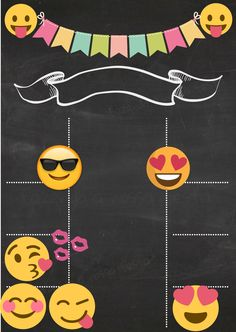 INVITACION EMOJIS Emoji Invitations, Birthday Invitations, 5th Birthday, Birthday Parties, Boarders And Frames, Instagram Party, Bunting Flags, Bday Girl, Birthday Chalkboard