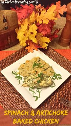 Baked chicken with spinach and artichoke. LOOKS YUMMMM!