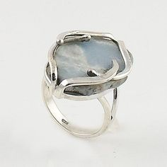"Angelite Rough Sterling Silver artisan crafted Ring. DETAILS: * Angelite Ring * Size 8 * 5.8 g total weight * Set in SOLID .925 Sterling Silver * Stamped .925 * Measures approximately 3/4"" x 1"" This f"