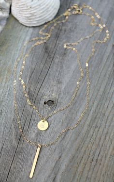 Layered SET of Two necklaces vertical bar & by potionumber9