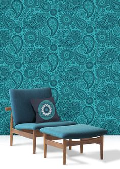 Dark Turquoise Paisley Crescent Wallpaper in Lido by MiniModerns.   The Decorating Diva, LLC