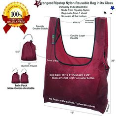 EcoJeannie 2 Pack Super Strong Ripstop Nylon Foldable Reusable Bag Grocery Shopping Tote Bag with built-in Pouch (Wine & Wine), RBS211 EcoJeannie http://www.amazon.com/dp/B00VAKS7CW/ref=cm_sw_r_pi_dp_ELt2wb0QPE4WE