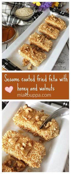 Sesame coated fried feta with honey and walnuts Good Healthy Recipes, Real Food Recipes, Yummy Food, Amazing Recipes, Snack Recipes, Greek Appetizers, Greek Desserts, Greek Dishes, Side Dishes