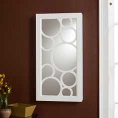 Tenley Frosty-white Ready-to-hang Wall-mount Jewelry Storage Mirror | Overstock.com Shopping - Great Deals on Upton Home Wood Boxes