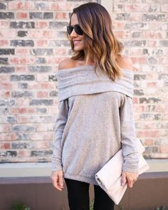 PREORDER - Cosmo Off The Shoulder Sweater - Taupe