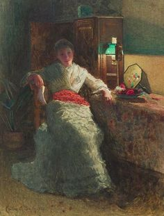 Smith, Carlton Alfred - Woman w Letter, Lamplight, 1885