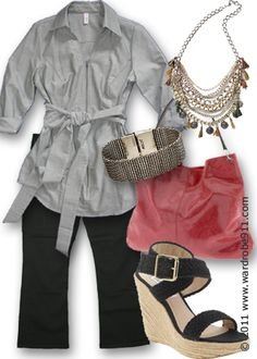 Spring Business Casual - I can't do those kinds of belts (or can I ??), but you get the idea here..