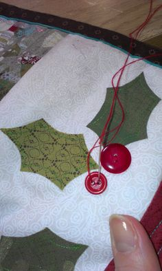 Christmas table runner, red vintage buttons, applique, quilting