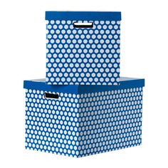 """PINGLA Box with lid - blue, 22x14 ½x14 ¼ """" - IKEA $7.99 for 2"""