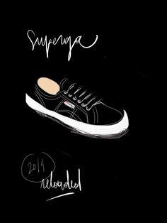 Black Superga.  Open Toe, fashion illustrated / Opentoeillustration.com