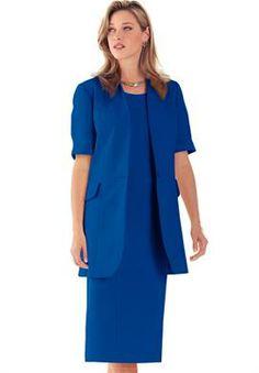 Plus Size Short Sleeve Sheath Jacket Dress image - 59.99 - Yellow, Red, Black, White, Sapphire (shown)