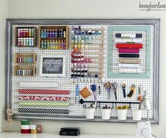 Extra Large Pegboard Craft Room Organization – I Love This Pegboard Idea How she Put the Frame around the board as well! She doesn't have a designated craft room but an extra large LR so she devoted a corner of her LR for her craft area – Great idea wh Large Pegboard, Pegboard Craft Room, Pegboard Organization, Craft Room Storage, Craft Rooms, Organization Ideas, Storage Ideas, Wall Storage, Organizing Tools
