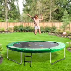 Oz Trampolines Round Trampoline' is a great compact trampoline perfect for those limited by space and not requiring a safety net. Available in 3 fun bright colours, with a printed mat- this fun and bright design provides hours of trampolining enjoyment. Backyard Trampoline, Poker Table, Outdoor Furniture, Outdoor Decor, Trampolines, Bright Colours, Things That Bounce, Compact, Safety