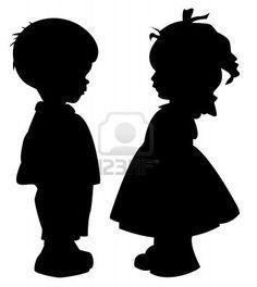 De twee silhouet van een jongen en meisje Stockfoto - 10436345