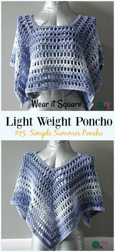 Crochet Ruffled Granny Square Poncho Free Pattern -Light Weight Spring Summer #Poncho; Free #Crochet; Patterns
