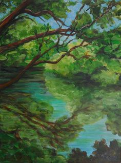Painting is an Original Nature Landscape in Gorgeous Greens, Blues and Browns in Acrylic by PetrocyStudios on Etsy