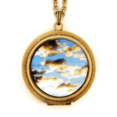 Beautiful Clouds Locket Necklace. #jewelry #clouds #necklace