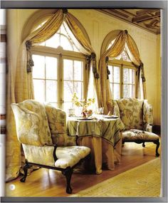 Custom with Candace: Help My Window Treatments! Beautiful window treatment for arched windows. Arched Window Treatments, Custom Window Treatments, Curtains For Arched Windows, Windows And Doors, Window Curtains, Home Decoracion, Blue Rooms, House Windows, Window Design
