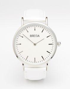 Reloj con banda de cuero en blanco clásico de Breda