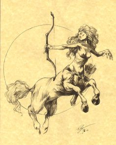 The World of TFlynn: FEMALE CENTAUR WITH BOW ON PARCHMENT