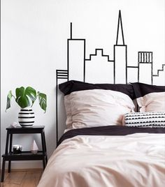 Different colors of diy bedroom wall decor Washi Tape Skyline Headboard Wall Decoration:separator:Different colors of diy bedroom wall decor Diy Wall Decor For Bedroom, Bedroom Themes, Diy Wall Art, Bedroom Wall, Budget Bedroom, Diy Bedroom, Diy Washi Tape Headboard, Washi Tape Dorm, Masking Tape